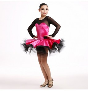 Girls  children child kids royal blue dark green fuchsia patchwork fish bone hem big skirted velvet long sleeves professional competition ballroom tango waltz dance dresses