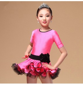 Girls children child kids royal blue fuchsia black short sleeves competition professional latin dance dresses with sashes
