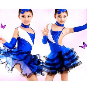 Girls children child kids royal blue white and black patchwork big skirted rhinestones professional competition exercises latin salsa cha cha  ballroom dance dresses
