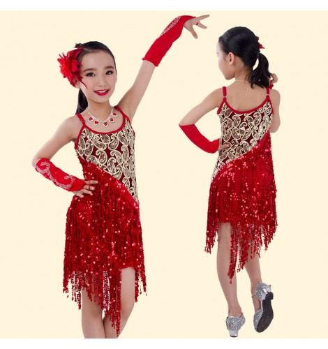 3c0e2aee1b58 Girls children child kids sequined pailette fringe strap sleeveless  professional competition latin dance dresses salsa cha cha samba dance  dresses with ...