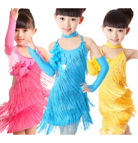 Girls children child kids sky blue fuchsia yellow fringe backless with gloves choker exercises professional competition latin salsa cha cha dance dresses