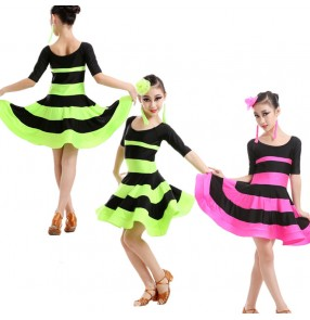 Girls children child kids striped neon green fuchsia black patchwork short sleeves compeittion exercises latin ballroom dance dresses