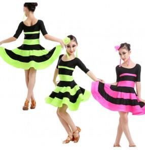 Girls children child kids striped neon green fuchsia black patchwork short sleeves compeittion exercises latin ballroom dance dresses
