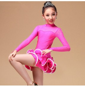 Girls children child turquoise yellow fuchsia turtle neck long sleeves paillette exercises professional latin dance dresses
