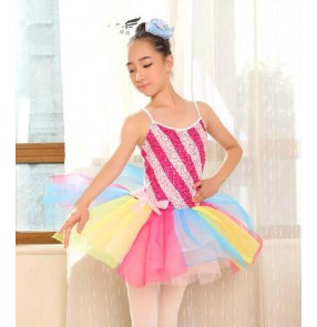 Girls children colorful patchwork tutu ballet dance dress