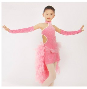 Girls children coral tutu skirt ballet dance dress tutu skirt with feather tail