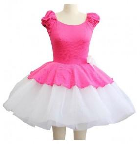 Girls children fuchsia and white patchwork ballet dance dress