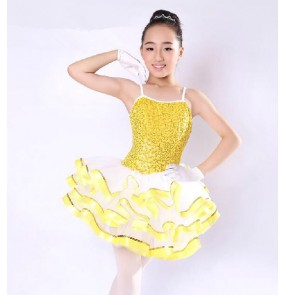 Girls children gold sequined leotard tutu skirt ballet dance dress