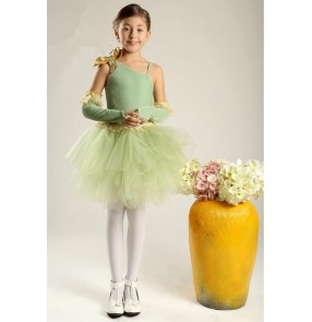 Girls children green tutu skirt ballet dancing dress
