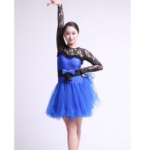Girls children kids baby child royal blue neon green black lace patchwork long lace sleeves competition ballroom dance dresses costumes