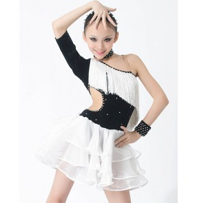 Girls children kids  black and white fuchsia and black neon green black diamond fringe professional competition high quality inclined shoulder latin dance dress