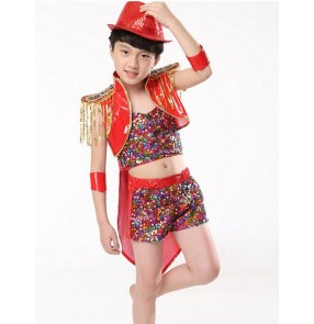 Girls children kids boys baby child red black paillette sequin pu leather two pieces jazz modern dance costumes dresses stage performance costumes