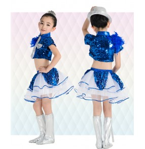 Girls children kids child baby paillette sequined top and shorts modern dance jazz dance costumes dresses set