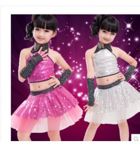 Girls children kids child fuchsia silver sequin paillette veil skirt halter collar backless modern latin dance dresses sets stage performance costumes dancewear