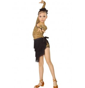Girls children kids child long sleeves brown leopard and black patchwork exercises  latin dresses samba salsa chacha dresses sets tops and skirts 110-160cm