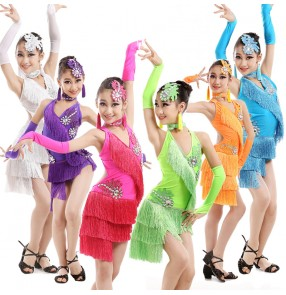 Girls children kids child neon green purple violet fuchsia white orange fringes rhinestones  competition professional backless latin dresses samba chacha dance dresses110-160cm