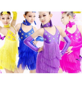 Girls children kids child rhinestones diamond competition professional exercises latin dresses samba salsa chacha dresses 110-170cm