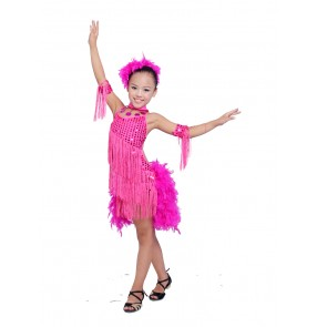Girls children kids child turquoise fuchsia black red sequined fringes sequined latin dresses 110-160cm