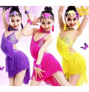 Girls children kids child yellow fuchsia turquoise yellow diamond rhinestone competition latin dresses samba salsa chacha dresses 110-160cm