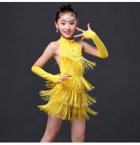 Girls children kids child yellow gold neon green fuchsia red fringe rhinestones with gloves backless competition exercises latin dance dresses salsa chacha samba dance dresses