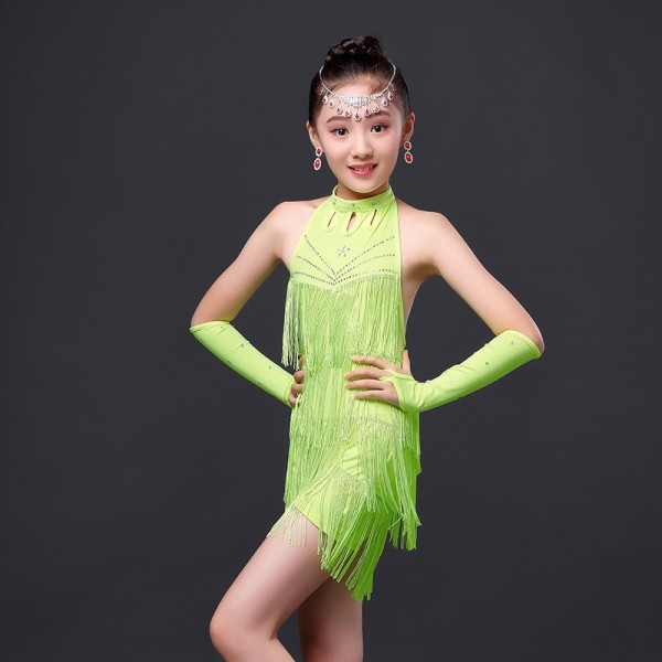 4f25c5c2d7828 Girls children kids child yellow gold neon green fuchsia red fringe  rhinestones with gloves backless competition exercises latin dance dresses  salsa chacha ...