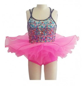 Girls children kids colorful rhinestone ballet dance dress leotard tutu skirt