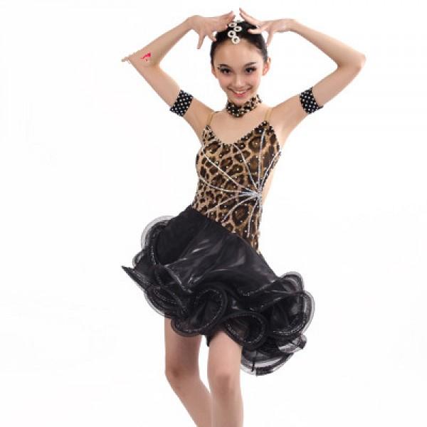 6262eb33f114 Girls children kids competition leopard rhinestone ballroom dance ...
