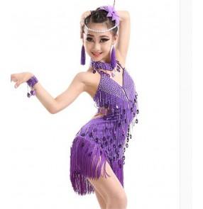Girls children kids fringe purple with diamond decoration professional latin dance dress  salsa chacha dance dresses 110-160cm