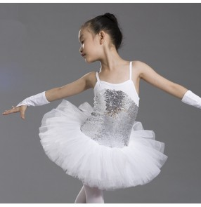 Girls children kids  paillette patchwork leotard skirt tutu ballet dance dress costume