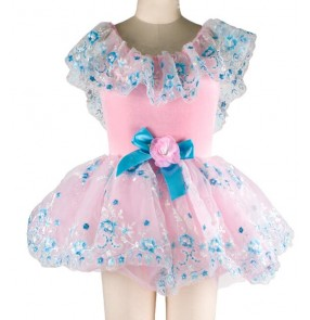 Girls children kids pink and blue floral tutu skirt leotard ballet dance dress
