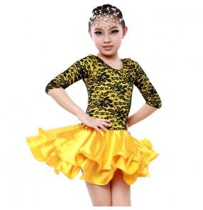 Girls children kids silk satin and lace patchwork  long sleeves  latin dance dress ballroom dance