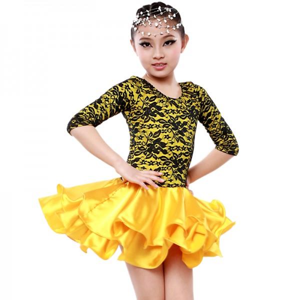 Long sleeve latin dance dress