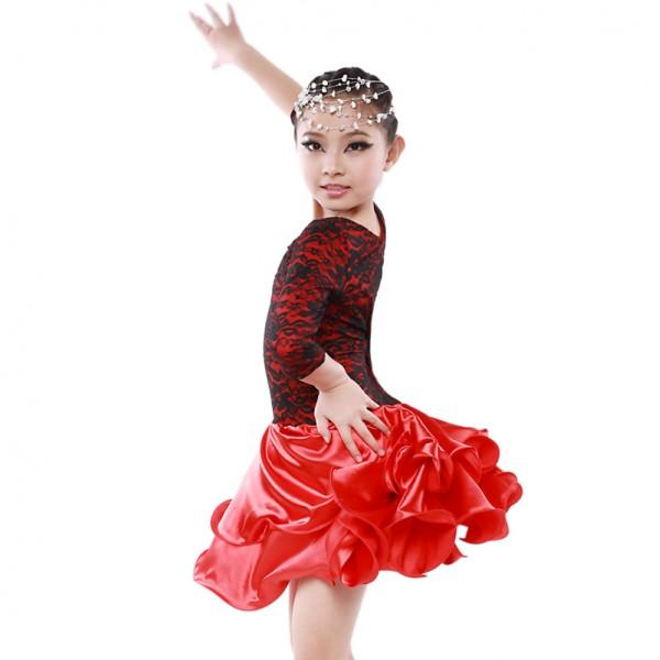 Girls children kids silk satin and lace patchwork long sleeves latin dance  dress ballroom dance df3a1126d9b9