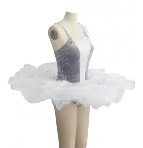 Girls children kids silver sequined and white patchwork ballet dance dress tutu skirt