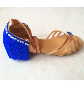Girls children kids tassels royal blue fuchsia orange latin salsa ballroom dance shoes cow leather sandals