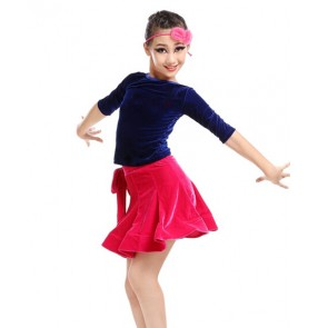 Girls children kids velvet latin dance dress top and skirt royal blue and black