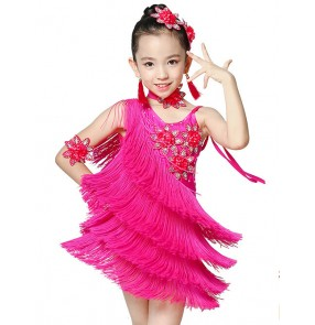 Girls children kids violet fuchsia flower fringe high quality competition latin dance dresses with choker  and arm flowers 110-160cm