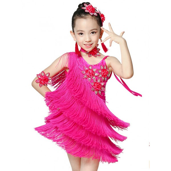 cea2a3dbcbf8 Girls children kids violet fuchsia flower fringe high quality competition latin  dance dresses with choker and arm flowers 110-160cm
