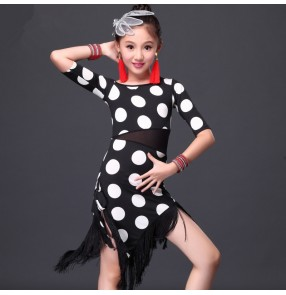 Girls children kids white polka dot  and red polka dot middle long sleeves tassels hem latin dance dresses 110-155cm