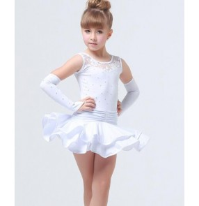 Girls children kids white red black diamond competition exercise  Latin dance dresses 110-160cm