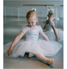 Girls children kids white silver sequined leotard tutu skirt ballet dance dress