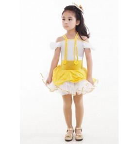 Girls children kids yellow and white patchwork ballet dance dress tutu skirt