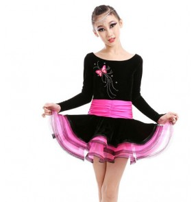 Girls children latin dance dress velvet long sleeves patchwork fuchsia green