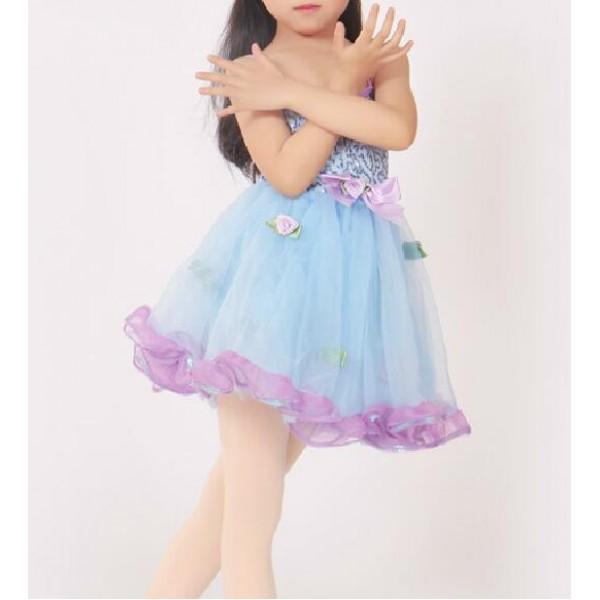 children light blue paillette ballet dress