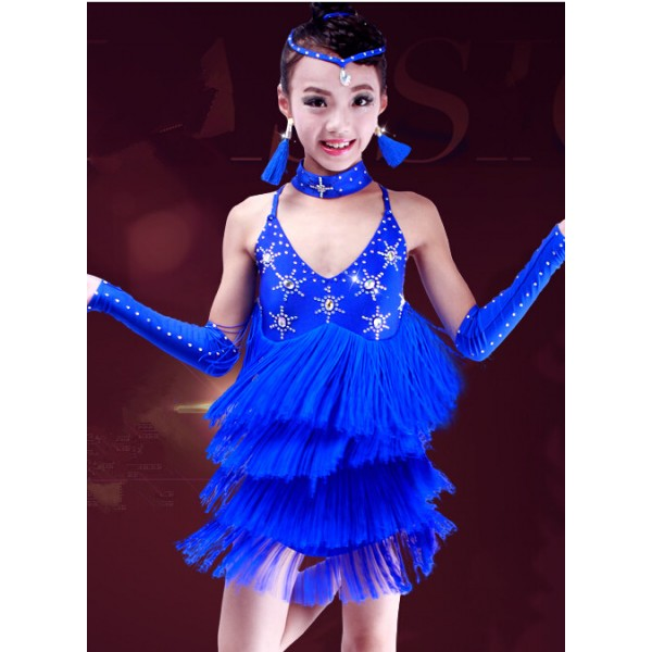 Girls Children Long Fringes Diamond High Quality Royal Blue Fuchsia