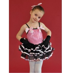 Girls children pink and black patchwork sequined ballet dance dress