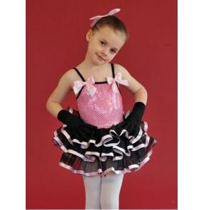 Girls children pink and black patchwork sequined ballet dance dress