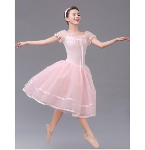 Girls children pink long ballet leotard tutu skirt dancing dress