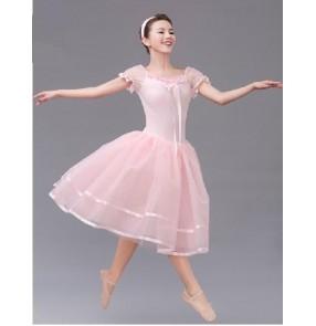 Girls children pink long ballet leotard tutu skirt dancing dress