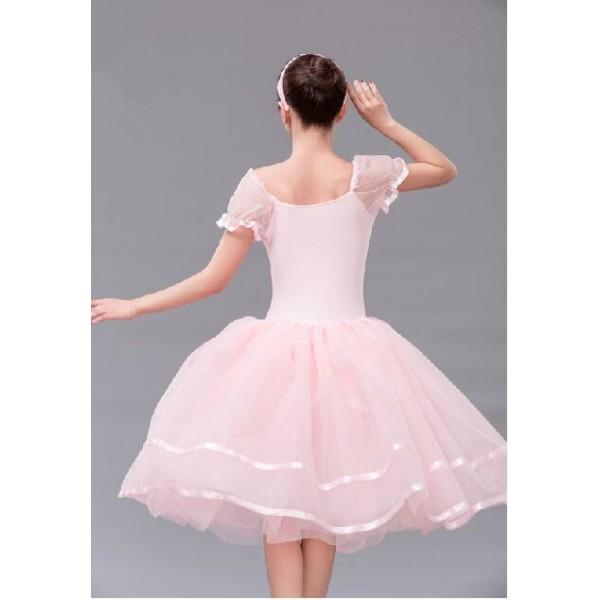 a45181dca499 Girls children pink long ballet leotard tutu skirt dancing dress